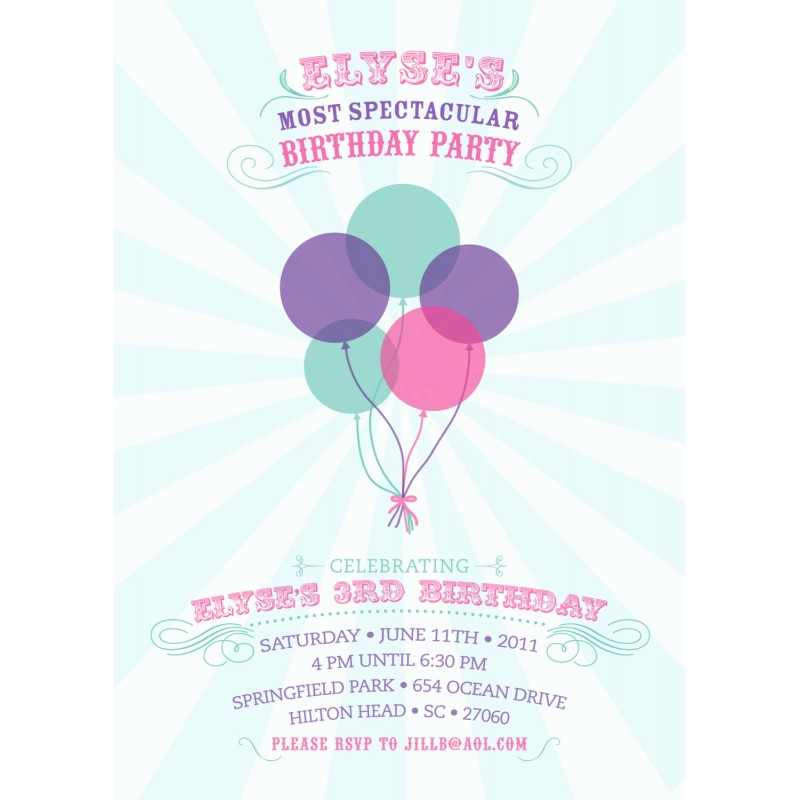Spectacular Balloons Birthday Party Printable Invitation