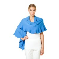 Sweater Shawl Wrap With Ruffle Trim - Cashmere Sweater England