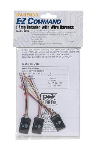 E-Z Command® 1 Amp Locomotive Decoder with Wire Harness 44914