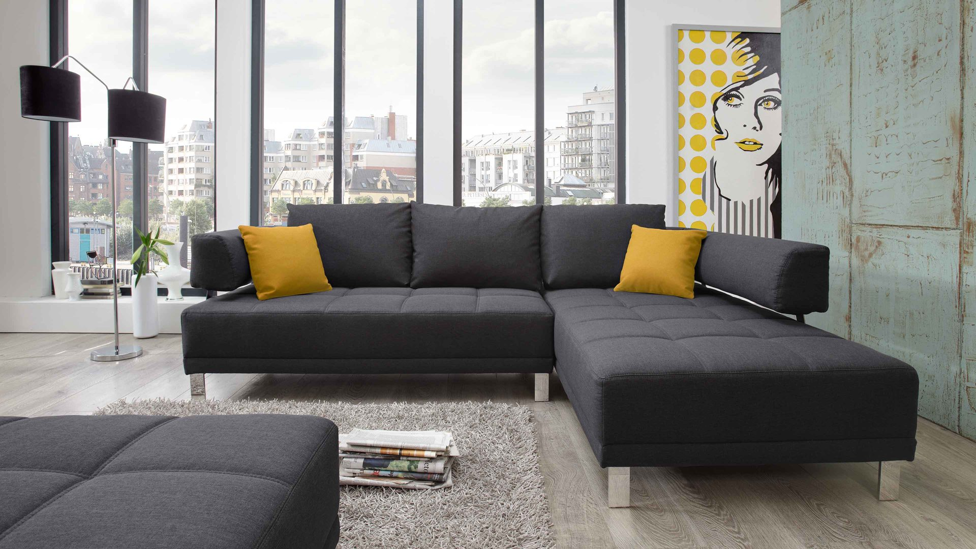 Anthrazit Farbe Sofa Couch Anthrazit Stoff
