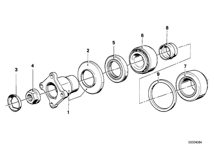 diagram showing the adjustable tapered roller bearings fitted to a