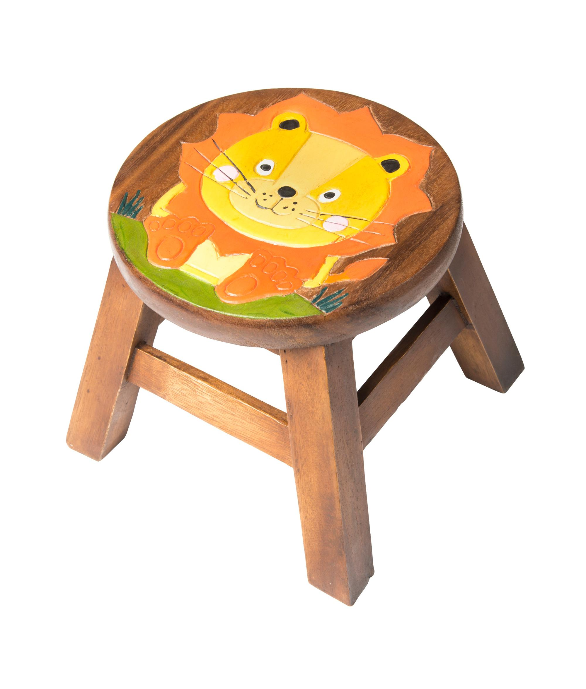 Kids Wooden Stool Kids Lion Wooden Stool Cancer Research Uk Online Shop