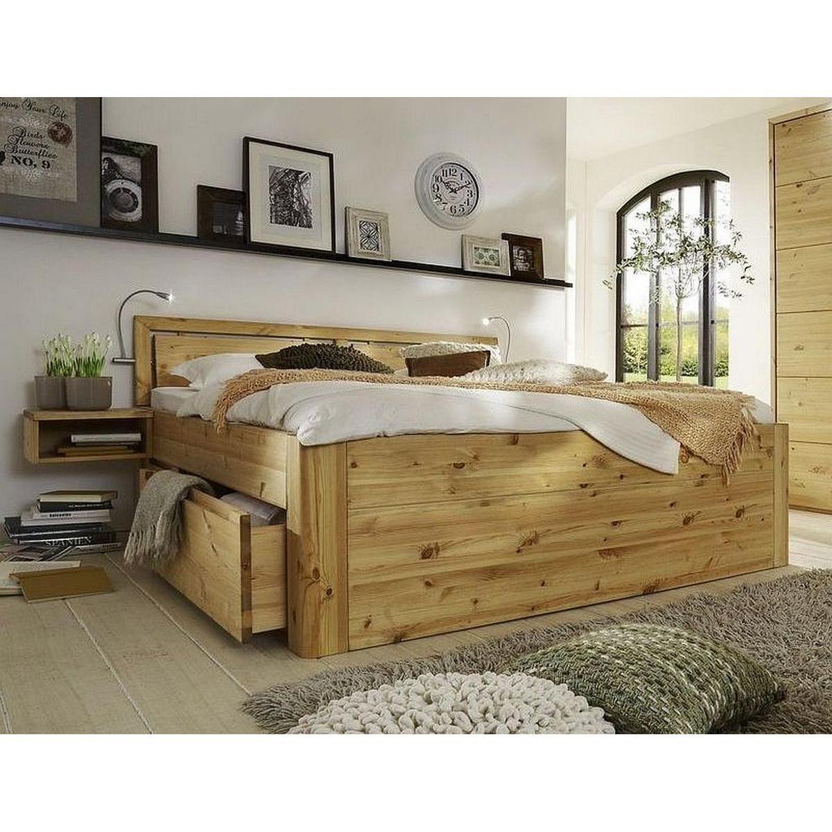 massivholz schubkastenbett luxus 140x200 gloria astkiefer
