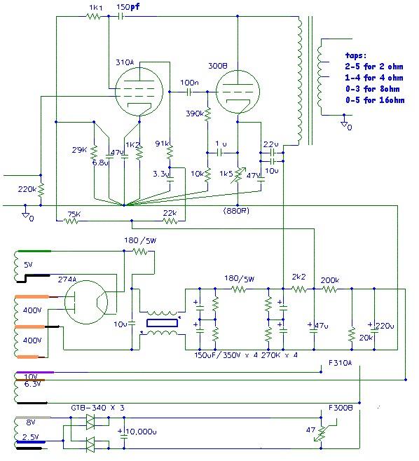 Ladyday SE 300B 91 tube amplifier (circuit diagram) \u2013 DIY Hifi Supply