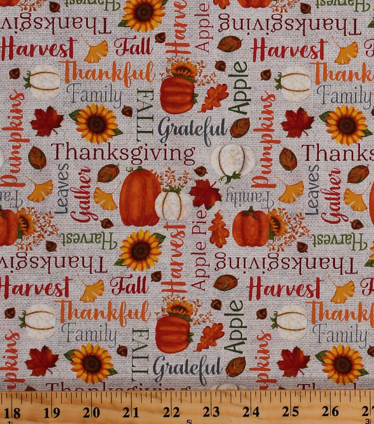 Orange 39 Cotton Autumn Fall Thanksgiving Quotes Pumpkins Sunflowers Leaves Harvest Orange Thankful And Blessed Fabric Print By The Yard A4664 39