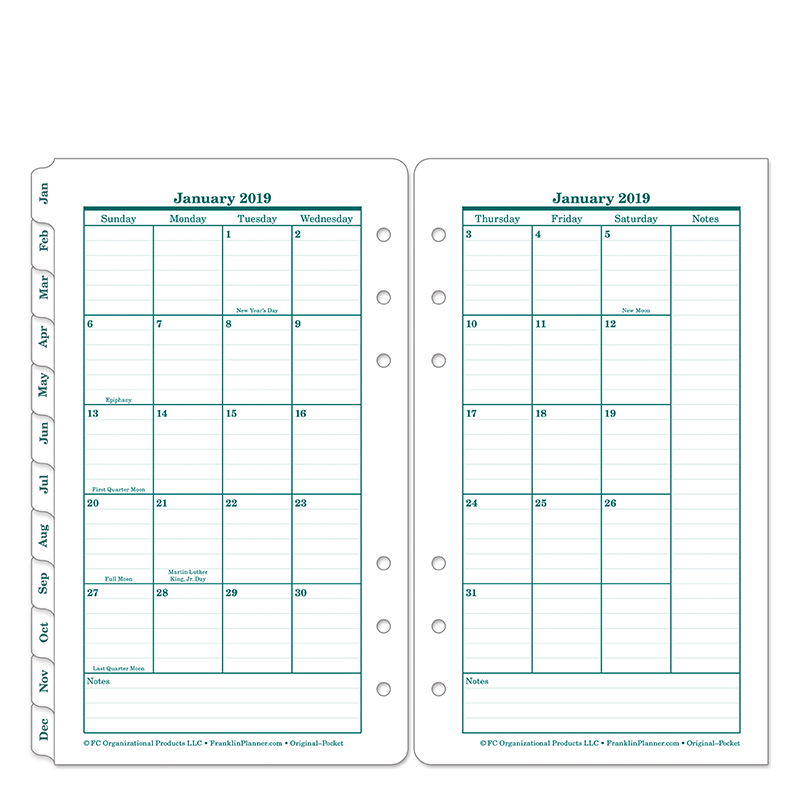 Original Two-Page Monthly Calendar Tabs - FranklinCovey