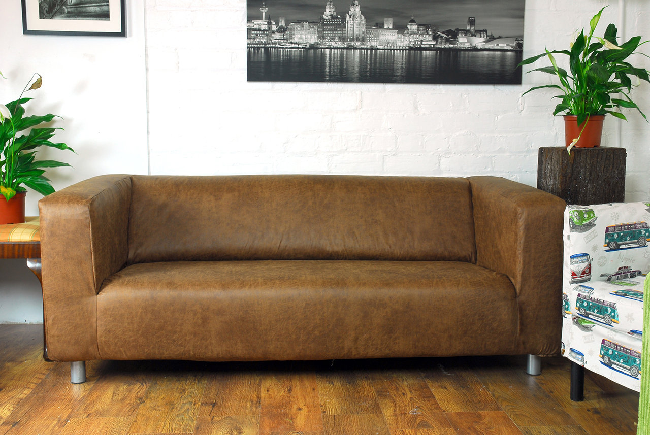 Ikea Lycksele Sofa Bed Distressed Vintage Faux Leather Look Klippan Cover Tan