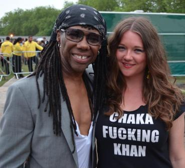 Jess Indeedy pictured with disco legend Nile Rodgers, wearing the famous original t-shirt.