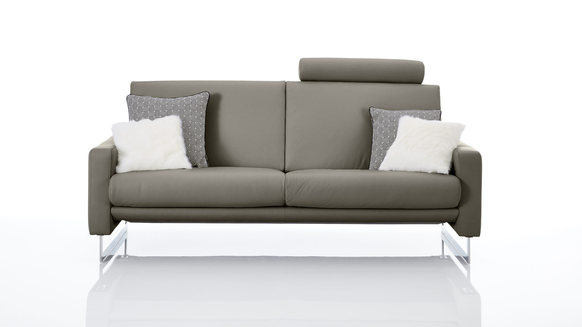 Polsterhocker Chrom Interliving Sofa Serie 4001 Dreisitzer Mit Federkern