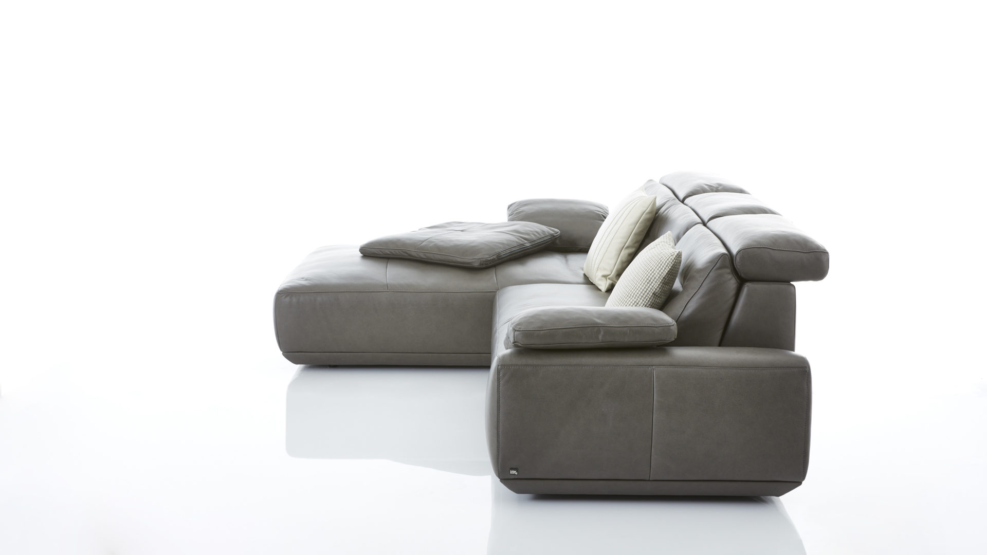W.schillig Ecksofa Leder Interliving Sofa Serie 4000 Eckkombination Graphitfarbenes