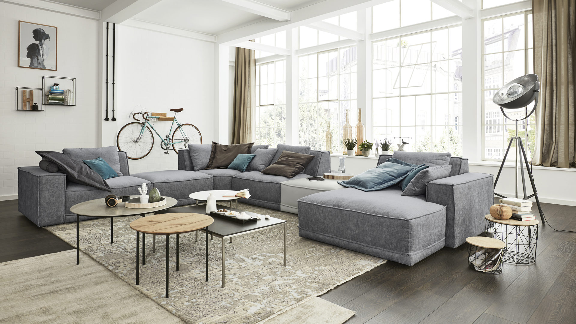 Candy Couchgarnitur Interliving Sofa Serie 4100 Wohnlandschaft Jeansfarbener
