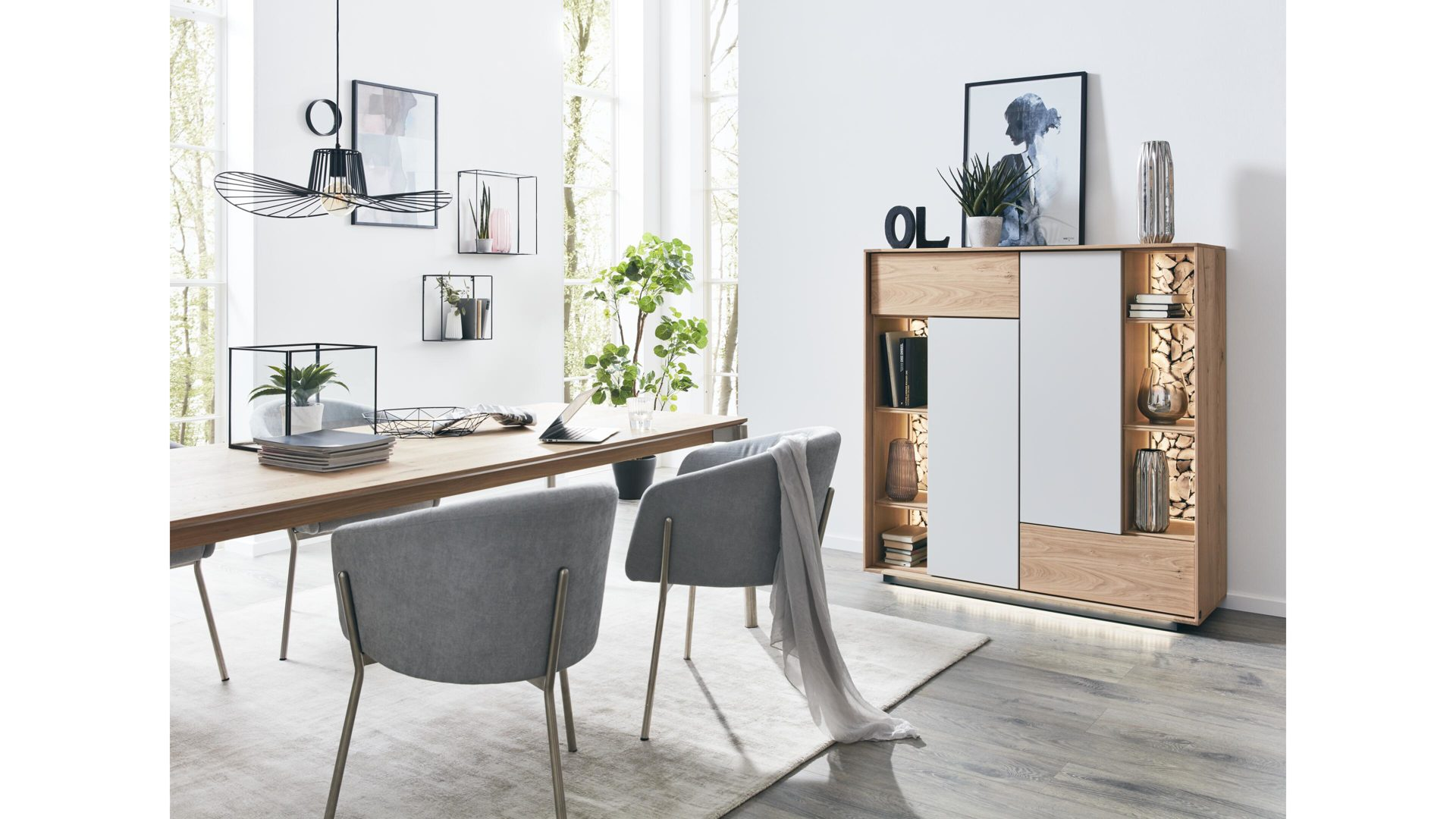 Esszimmer Weiß Holz Interliving Esszimmer Serie 5602 Highboard Helle Wildeiche