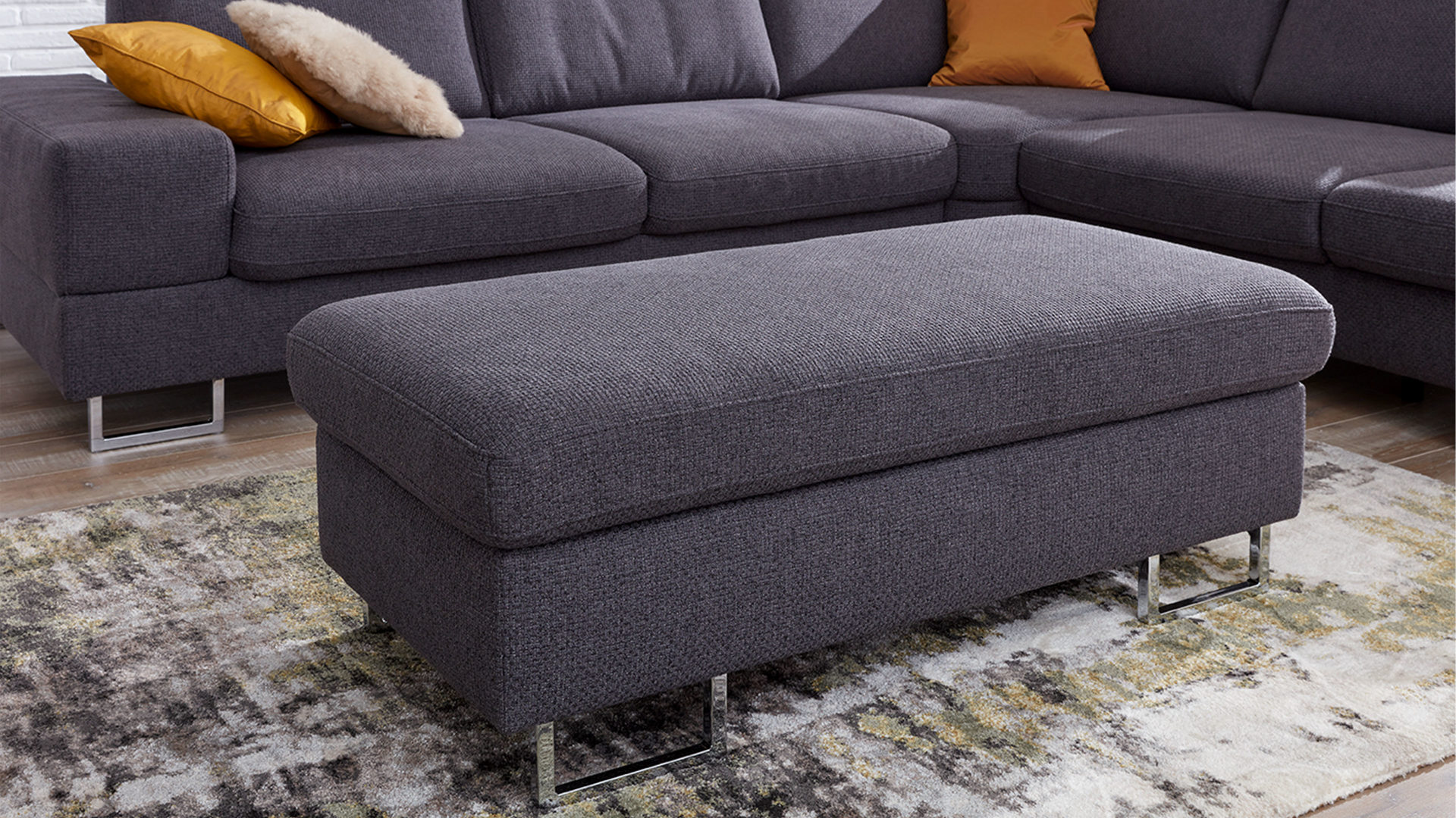 Polsterhocker Chrom Interliving Sofa Serie 4302 Polsterhocker Anthrazitfarbener
