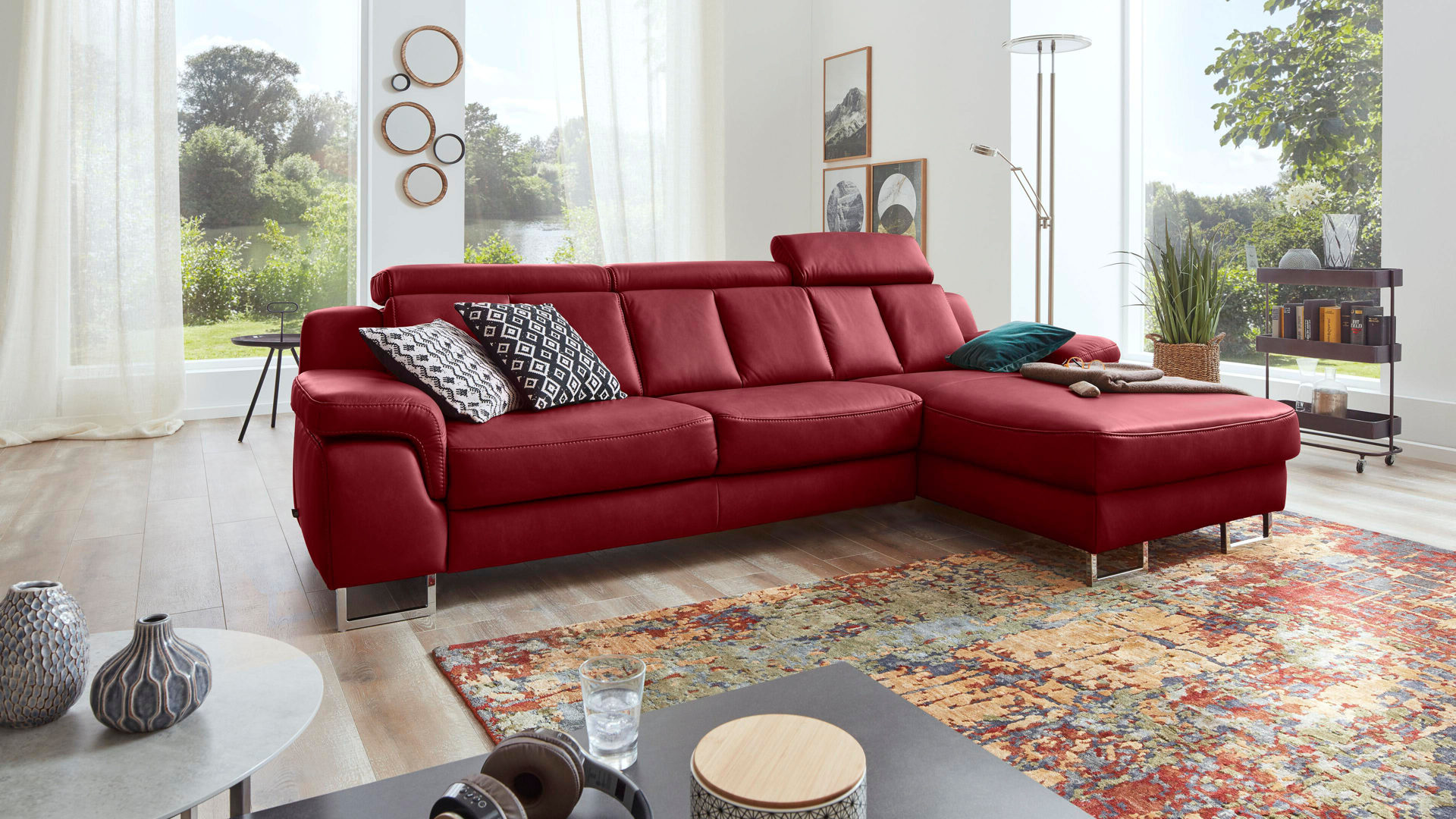 Ecksofa Leder Mit Sessel Interliving Sofa Serie 4050 Eckkombination Rotes Longlife