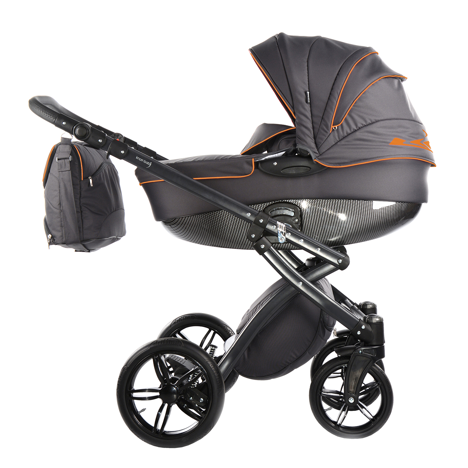 Knorr Kinderwagen Online Shop Kombi Kinderwagen Alive Be Carbon Dunkelgrau Orange