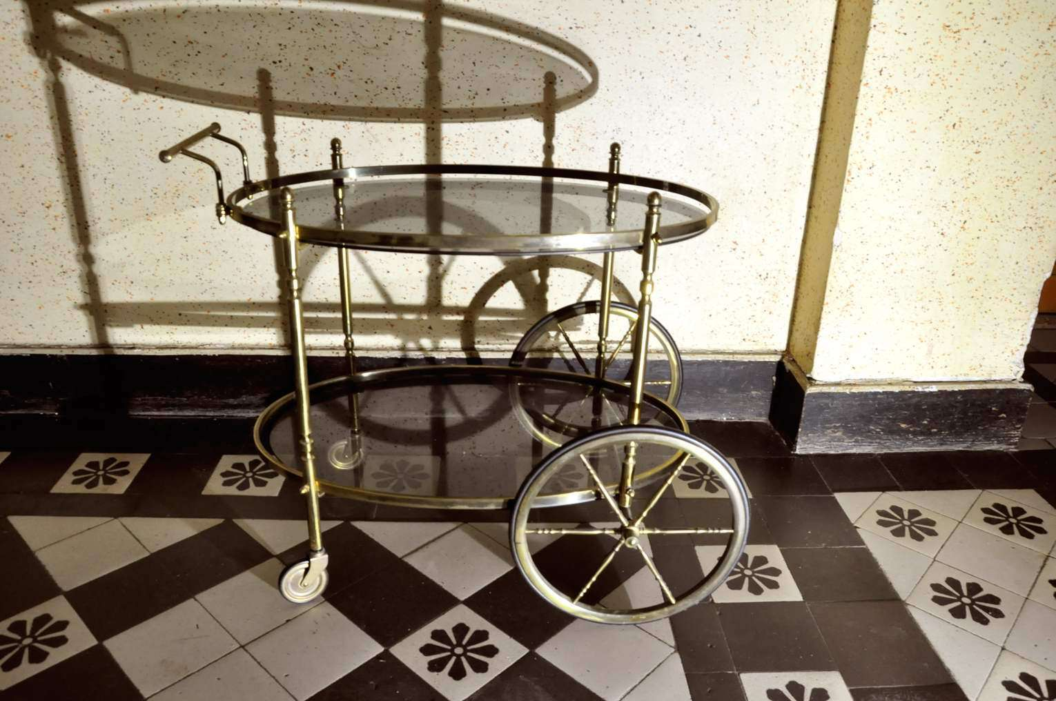 Servierwagen Antik Tea Trolley Serving Trolley Brass And Smoking Glass