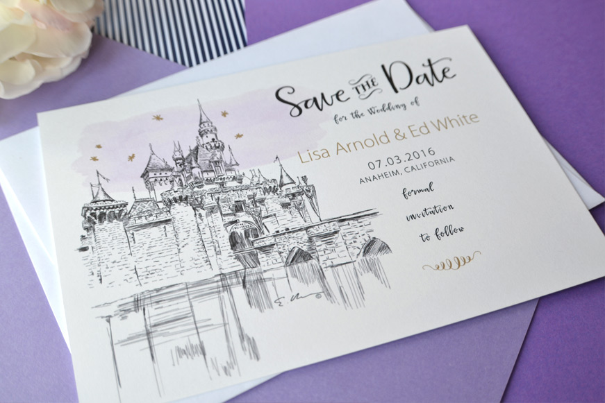 Disney Fairytale Wedding Skyline Save the Date Cards
