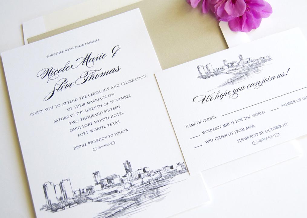 Ft Worth Skyline Wedding Invitations