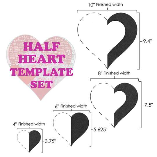 Half-Heart Template Set shopmartellinotions