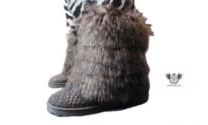 FAUX FUR HUNTER BOOTS grey side