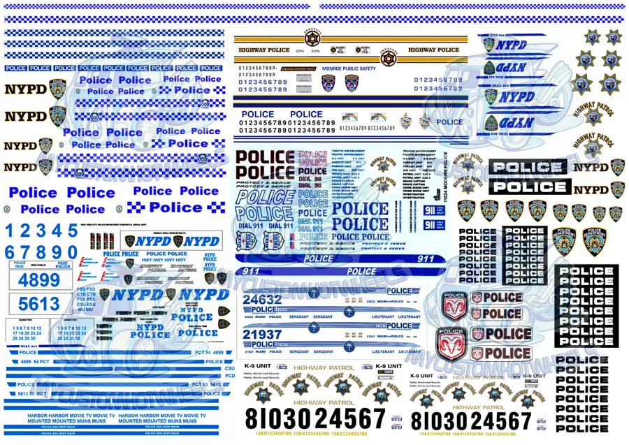 Police Decals My Custom Hot Wheels  Model Cars
