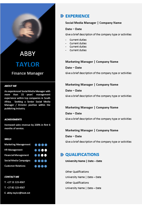 finance cv template word