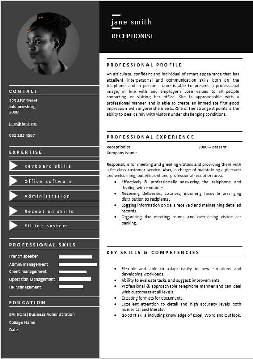 professional front free cv