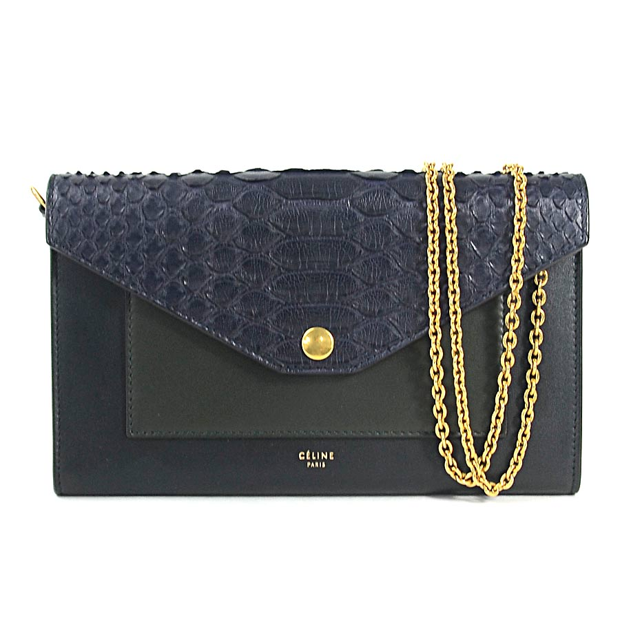 Flapon Celine Shoulder Bag Chain Shoulder Wallet Large Flap On Chain Navy Blue X Black Leather X Python Celine Lady S 10521 4ad6 07oc 96 081