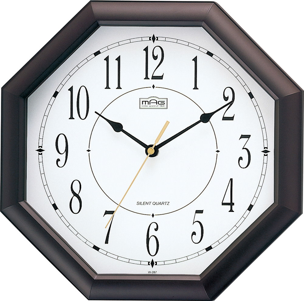 Online Analog Clock Mag Mag Clock Sound Quiet Continuous Second Hand Clocks Analog Octago Brown W 287 Br Z 05p03dec16