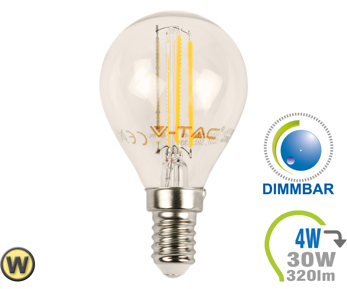 Led Dimmbar E14 E14 Led Lampe 4w Filament P45 Warmweiß Dimmbar
