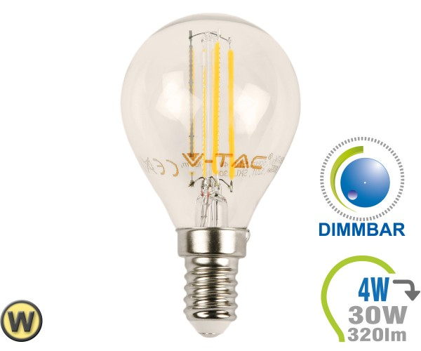 Led E27 Dimmbar E14 Led Lampe 4w Filament P45 Warmweiß Dimmbar