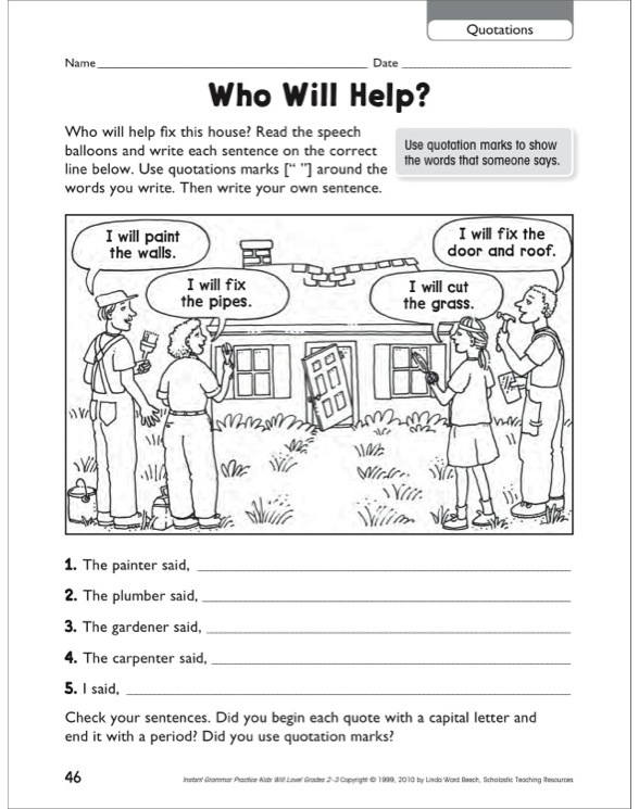 Who Will Help? (Quotations) Grammar Practice Page by