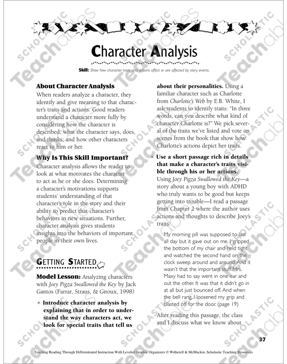 Character Analysis Leveled Graphic Organizers for Differentiated
