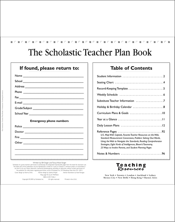 The Scholastic Teacher Plan Book (Updated) by Tonya Ward-Singer;Bill - teachers planning calendar