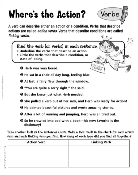 A Verb for Herb Grammar Tales Mini-Book  Puzzles by