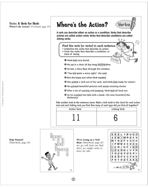 A Verb for Herb Grammar Tales Mini-Book  Puzzles by - all action verbs