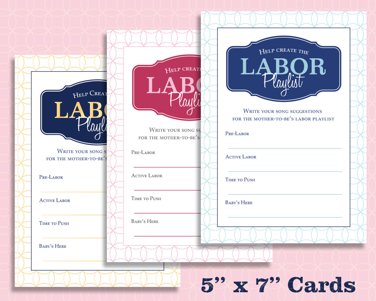 Help Create The Labor Playlist Baby Shower Game Digital File Printable In  Blue, Pink, Gold Or Custom Colors!