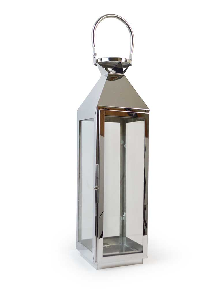 Large 62cm Chrome Lantern Stainless Steel Silver Glass