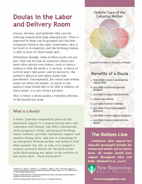 Doulas in the Labor and Delivery Room handout \u2013 free version \u2013 The