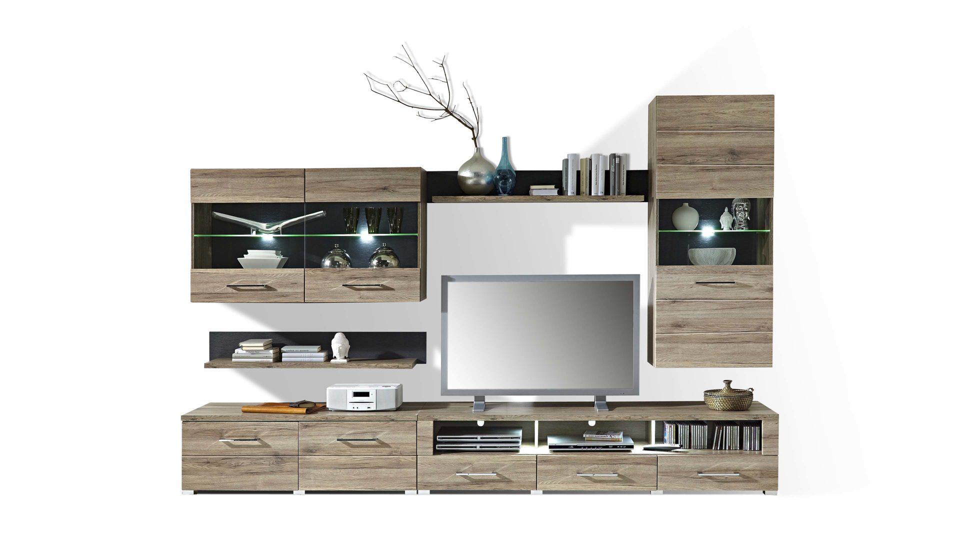 trop mobelabholmarkt gmbh moderne wohnwand mit vitrinen und tv tv mobel buche tv mobel holz massiv brocelande ii