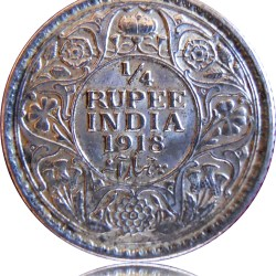 1918 1/4 Quarter Rupee George V King Emperor Calcutta Mint