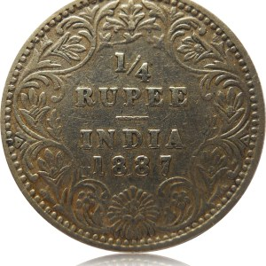 1/4 Rupee British India 1887 Silver Coin Queen Victoria - Worth Buy