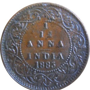 1883 1/12 One Twelve Anna British India Queen Victoria Empress - Best Buy