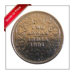 1897 2 Two Annas Silver Coin Queen Victoria Empress Bombay Mint - Best Buy - RARE COIN