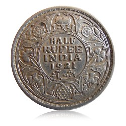 British India 1921 Half Rupee Silver Coin King George V Calcutta Mint