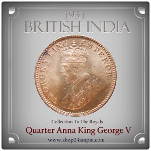 1931 1/4 Quarter Anna - British India King George V -AUNC - Best Rare