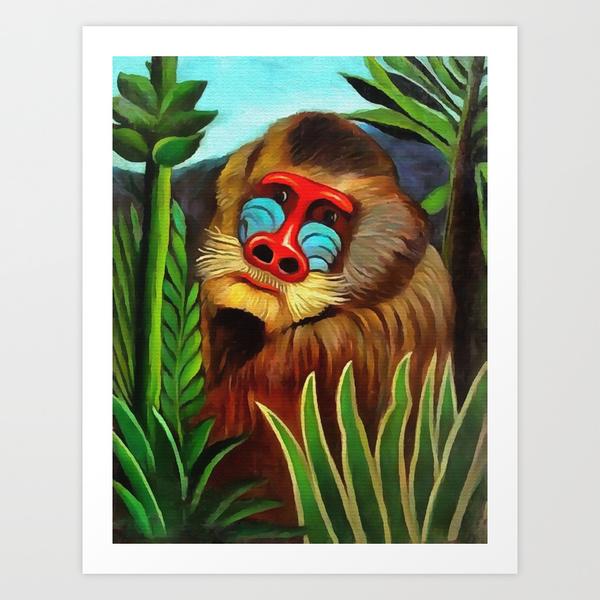 Henri Rousseau Mandrill In The Jungle Art Print