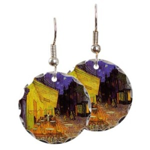 Cafe Terrace At Night Earrings