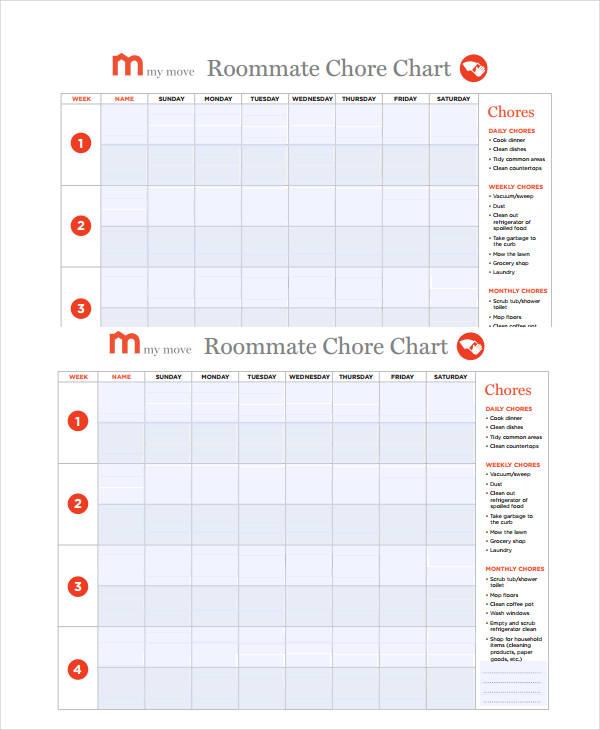 Printable Roommate Chore Chart shop fresh