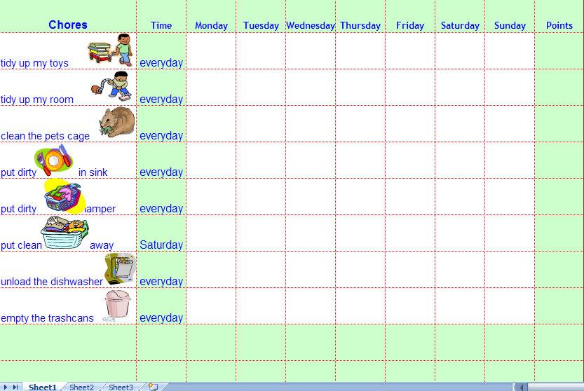 Printable Weekly Chore Charts For Kids shop fresh